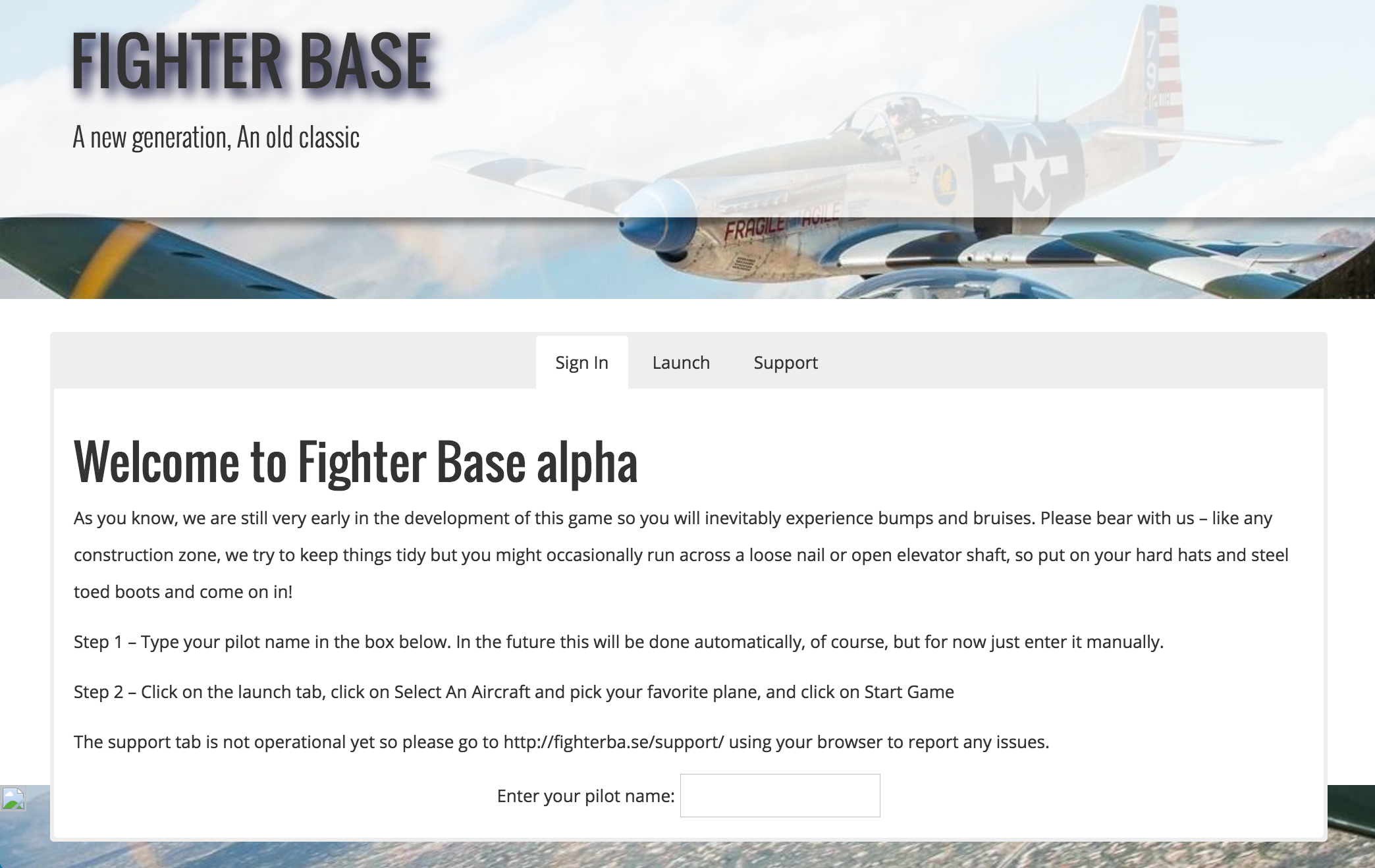 Fighter Base 0.29 Launch